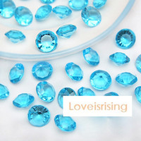 Wholesale Blue Acrylic Wedding Table Confetti - 18 Colors--1000pcs lot 10mm (4 Carat) Aqua Blue Diamond Confetti Faux Acrylic Bead Table Scatter Wedding Favors Party Decor--Free Shipping