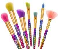 Wholesale pattern brush for sale - Group buy Rainbow Scales Pattern Makeup Brushes set Memaid brush Professional Make Up Brushes set Blending Powder Foundation Contour Brush Kit