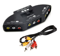 Selettore a caldo alta qualità 3 porte Video Switcher Gioco AV Cavo di commutazione segnale AV RCA AV Splitter Audio Converter per XBOX per PS TV