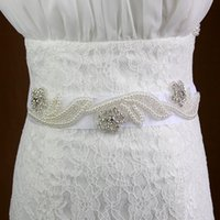 Wholesale Cheap Belts For Sale - New 2017 Organza Pearls Bridal Sashes Beaded Rhinestones Crystals Belt For Formal Dress Cheap Wedding Dress Belt Hot Sale