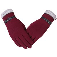 Wholesale Womens Winter Mittens - Fashion Elegant Womens Screen Winter Warm Wrist Gloves Mittens Cashmere Bow Five Fingers Top Quality Factory Wholesale