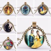 Beauty And The Beast Necklace Jóias Cartoon 2017 Statement Meninos Meninas Glass Chain Art Pendant para colar Bohemian Sliver Plated
