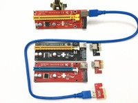 Wholesale Data Power Cable Sata - Latest 007S Red Black PCI-E PCI E Express Riser Card 1x to 16x SATA Molex Power Supply with USB 3.0 Data Cable For BTC Miner Machine