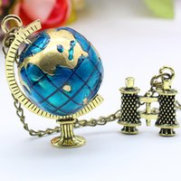 Wholesale Earth Globe Vintage - World Globe Vintage Pendant Necklaces Jewelry Accesories Rotating Earth Globe Telescope Shape Alloy Maded Bronze Color Necklace Gifts