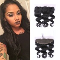 Wholesale Malasian Virgin - Malasian Virgin Body Wave Full Lace Frontal Closure 13x4 Bleached Knots 100% Human Hair Extensions G-EASY