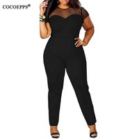 Wholesale Vintage Playsuits - Wholesale- 2017 4XL Plus Size Sexy Bodycon Jumpsuits Clothing Women Short Sleeve Casual Mesh Patchwork Women's Vintage Overalls Playsuits