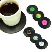 disco de vinilo al por mayor-CD Taza Mat Decoración Creativa Café Drink Placemat Spinning Retro Vinilo CD Record Bebidas Posavasos 6 Unids / set