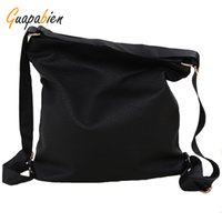 Venta al por mayor-Guapabien Negro Mujeres Hombro Back Pack Moda Mujeres Estudiantes School Book Mochila College Teenage Leather Travel Bags Mujer
