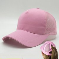 Wholesale Cheap Girl Fashion - New Arrival Women ponytail Hats baseball hat Fashion Girl Softball hats back hole Pony Tail Drop Shipping Cheap Sun hat
