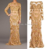 Wholesale Cheryl Cole Long Dresses - Real Picture Cheryl Cole Cannes Red Carpet Celebrity Dress Appliques Beads Full Illusion Sleeve Backless Tulle Sheer Evening Prom Gowns