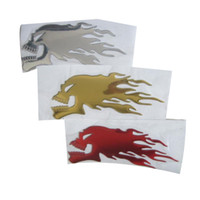 Wholesale 3d Flame Decals - (100 piece lot) Wholesale 3D PVC Flame Skull Head Funny Car Decals Stickers Car-styling Bumper Stickers