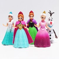Wholesale Pvc Dress Models - action figure Frozen 11Pcs Lot Princess Anna Elsa Olaf Figures Doll Toys Model Action Figure Set With Magic Clip Dress For Children
