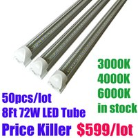 Wholesale Cool Daylight - Stock Free Shipping 50pcs lot led 8ft tube 72w Integrated V-Shaped LED Tubes Lights daylight White color r17d led tubes in stock
