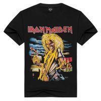 Wholesale Bones Tee Shirts - [Men bone] Men T Shirt Black T-Shirt Cotton Metallica Print Heavy Metal Rock Hip Hop Punk Clothing Summer Tee