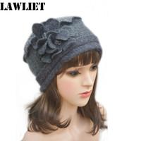Wholesale Womens Dress Hats Wholesale - Wholesale-A125 Dark Gray Flower waves trimmed Womens Wool Beanie Cap Dress Crochet winter Hat