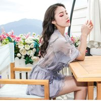 Wholesale Low Cut Sexy Mini Skirt - Summer new female embroidery feather patchwork dress sexy low-cut perspective with divided skirts conjoined skirts pants