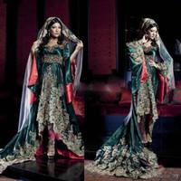 uzun kollu arabian gece elbiseleri toptan satış-Hindistan Suudi Arabistan elbise Uzun Kollu Sweetheart Abiye Hunter Yeşil Dantel Aplikler Müslüman Abiye Giyim