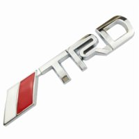 Wholesale Trd Emblems Stickers - OTOKIT New 3D Chrome TRD Racing Development Logo Metal Emblem Badge Car Styling Decal for Toyota Car Tail Door Head Car Sticker