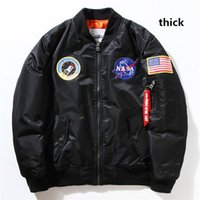 Wholesale Force Baseball - Fall-Flight Pilot Jacket Coat Black Green Bomber Ma1 Men Bomber Jackets Nasa Air Force Embroidery Baseball Military Coats with Zipper M-XXL