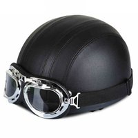 Wholesale Retro Full Face Helmet - Motorcycle Helmet 58 - 60CM with Goggles Sun Shield Necklet Retro Style Light and Durable for Outdoor Cycling Protecting Head freeshipping