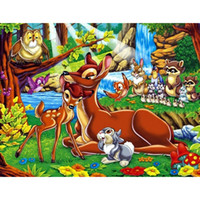Wholesale animal craft kits - Cartoon Animal Full Drill DIY Mosaic Needlework Diamond Painting Embroidery Cross Stitch Craft Kit Wall Home Hanging Decor