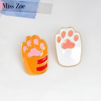 Miss Zoe Smalto pin Cute Cartoon Arancione bianco Cat Kitten Paw Brooch Pins Gioielli fai da te distintivo regalo per le donne ragazza bambini