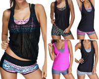 Wholesale Swimwear Three - 2016 Sexy Women Swimwear Three pieces Tankini with Shorts Sporty Bathing Suits Women Plus size S~3XL