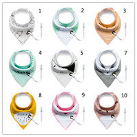 Wholesale Feeding Baby Bibs - Baby Cartoon INS Bibs 21design Infant Multi-function Cotton double-layer Feeding Burp Cloths unique Pacifier Holder Buckle triangle slobber