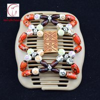 Wholesale Magic Twin Hair Comb - 50pcs lot fashion wooden double twin magic hair comb elastics beads hair jewelry bow comb free shipping