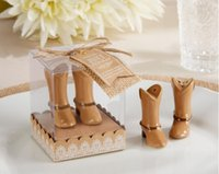 Wholesale Wholesale For Cowboy Boots - 200pcs=100Boxes LOT Just Hitched Ceramic Cowboy Boot Salt and Pepper Shaker for Wedding Souvenirs Party Favors Free shipping