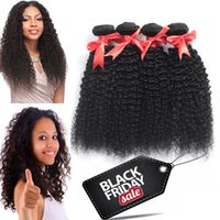 Wholesale Cheap Wholesale Remy Kinky Hair - 10A Cheap Brazilian Virgin Hair Kinky Curly Weave 3 4 Bundles Peruvian Indian Malaysian Human Hair Extensions Remy Hair Natural Black Color