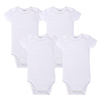Wholesale White Baby Bodysuit Blank Unisex Newborn Baby Clothes Short Sleeve Summer Clothing Set Boys Girls Clothes Accept Custom