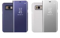 not çevirme kutusu penceresi toptan satış-Ayna Cüzdan Resmi Kılıf Iphone XR XS MAX X 10 8 7 Galaxy S10 Lite S9 Not 9 8 S8 Çevirme Deri Kaplama Akıllı Pencere Metalik Krom