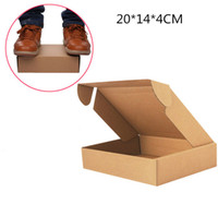 Wholesale Wholesale Chocolate Cake Boxes - Wholesale -100pcs Kraft Paper Packing Boxes 20*14*4cm Wedding  Party Favor Soap  Cake  Macaron  Cookie Packaging Gift Box