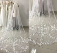 Wholesale 1t Lace Wedding Cathedral Veil - Stock 3 Meters Long Tulle Wedding Veil with Comb and Lace Appliques 1T Real Photo Bridal Veil Wedding Accessories 2017 CPA886