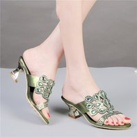 Wholesale Cheap Diamond Heels - 2016 New Diamond Sandals Green Cheap Chunky High Heels Best Luxury Casual Shoes Ladies Leather Slippers W2B