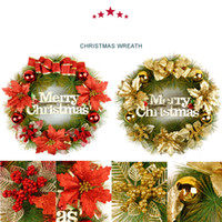 Wholesale Door Gift For Christmas - Hot sale holiday gift Free shipping 40cm door act Christmas Wreath red and gold colour for Christmas holiday decoration gifts