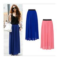 Wholesale Long Black Chiffon Maxi Skirt - Wholesale- Hot Sale 2015 Summer Fashion Bohemian Double Layer Chiffon Pleated Elastic Waist long Maxi Skirt Drop Shipping