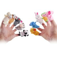 Wholesale New Year Baby Puppet Cartoon - Wholesale-Chinese Zodiac 12pcs lot Animals Cartoon Biological Finger Puppet Plush Toys Dolls Child Baby Favor Finger Doll