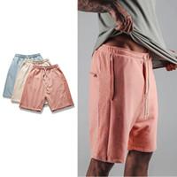 Wholesale Kpop Fashion Men - Wholesale- summer harajuku kpop hiphop 2017 fashion kanye west justin bieber sweat jogger pink Khaki  blue FOD style harem Man Shorts