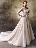 Wholesale Ivory Enzoani Wedding Dresses - 2017 Tulle Sweetheart Neckline Flower Appliqué Custom A-Line Spaghetti Straps Bridal Gown Lulu 1121 Ddbg Enzoani Wedding Dresses