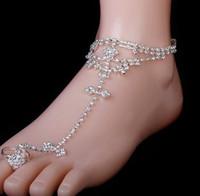 sandalias descalzas tobillo dedo del pie anillo al por mayor-Cristal de las mujeres sandalias descalzas pie joyería decoración tobillera cadena sandalia de playa con anillo del dedo del pie nupcial accesorio de señora Party Anklet