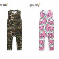 Wholesale Girls Outfits Size 4t - Baby Floral Romper 2017 Summer Sleeveless Camouflage Baby Onesies Boy Girl Jumpsuit Toddler Outfit Infant Outwear Bodysuit Baby Clothes 95