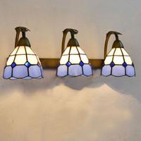 ışıklı cam balkon toptan satış-Tiffany Izgara Cam Banyo Duvar Lambası Ayna Ön Akdeniz Duvar Aplik Metal Renkli Cam Koridor koridor Balkon Duvar Işıkları