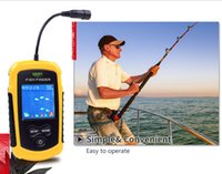 Wholesale Chinese Fish Finders - 100M depth Portable Fish fishing finder Sonar LCD Echo Sounder wireless tools Alarm ice sea river wide application finders Lure Bait simple
