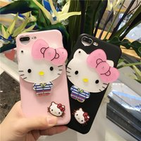 Wholesale Black Cat Iphone Case - Cute Cartoon 3D Kitty Cat Soft TPU Silicone Phone Case Back Cover with Mirror for iPhone 6 6s 6 Plus 7 7 Plus