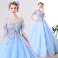 Wholesale Images Fairy Lights - 2017 Light Sky Blue Prom Dresses Sheer Lace Half Poet Sleeves Quinceanera Dresses Princess Fairy Appliqued Plus Size Party Prom Gowns