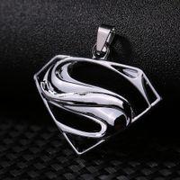Wholesale Superman Man Steel - Wholesale Fashion Unisex's Men Women Superman Sign Sliver Stainless Steel Cross Pendant Necklaces Chain Items Male Jewellery