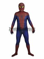 traje de spiderman increíble de zentai al por mayor-Increíble traje de hombre araña Traje de Spiderman-3D Impreso cosplay Zentai Disfraces de Halloween