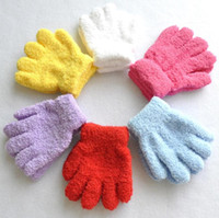 Wholesale Stretch Candy Girls - Children Kids Winter Knitted Gloves Candy Colors Full Finger Stretch Gloves Students Gloves Warmer Mittens 50 p